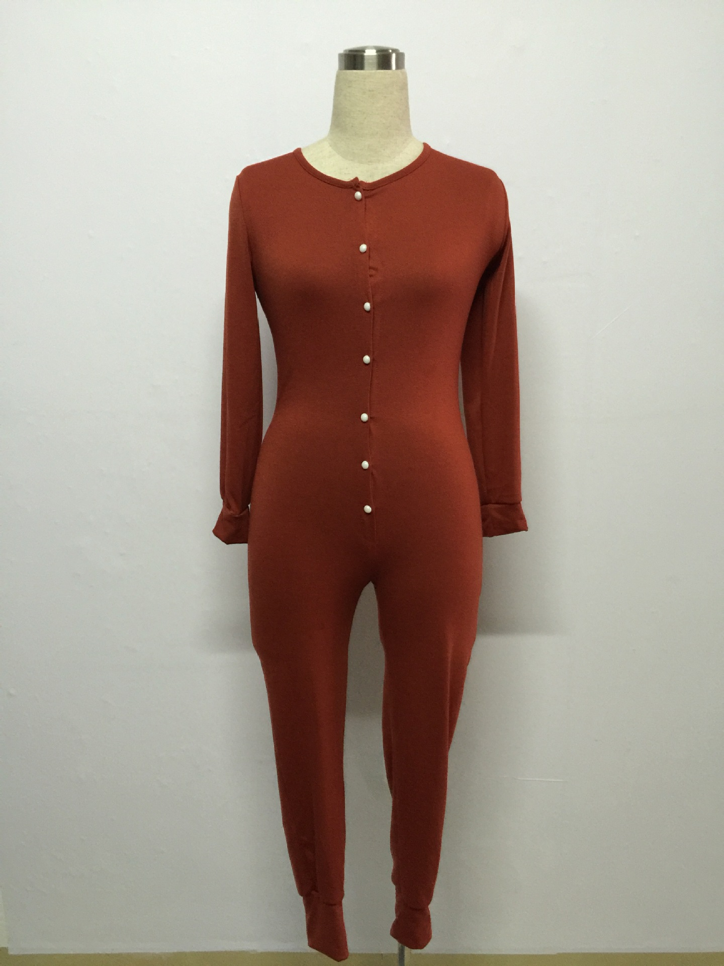 Slim V Neck Long Sleeves Single-breasted Red Cotto