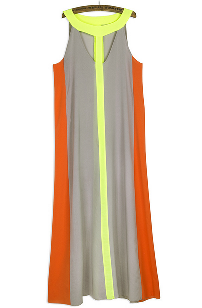 Sexy O Neck Tank Sleeveless Cut-out Patchwork Chif