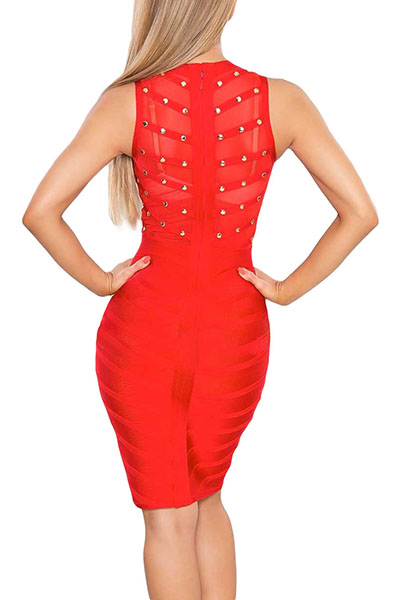 Sexy Sleeveless See-Through Rivet Decoration Red H