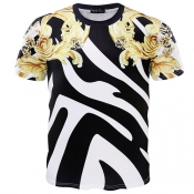 Pullovers Cotton Blends O Neck Short Sleeve Print