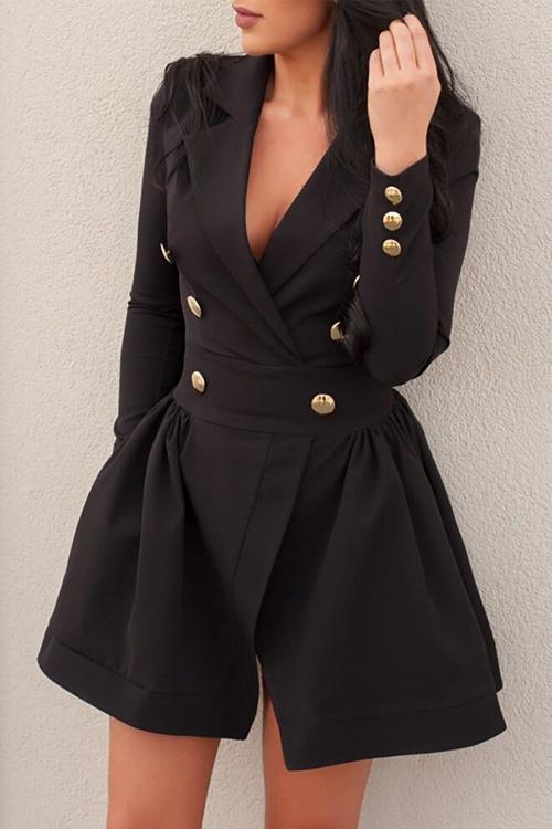 Trendy V Neck Double-breasted Design Black Linen M