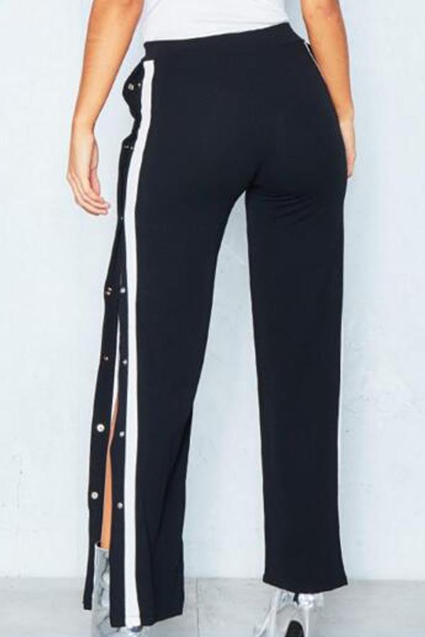 Trendy Elastic Waist Side Split Black Polyester Pa