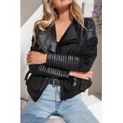 Euramerican Turndown Colla Zipper Design Black Pol