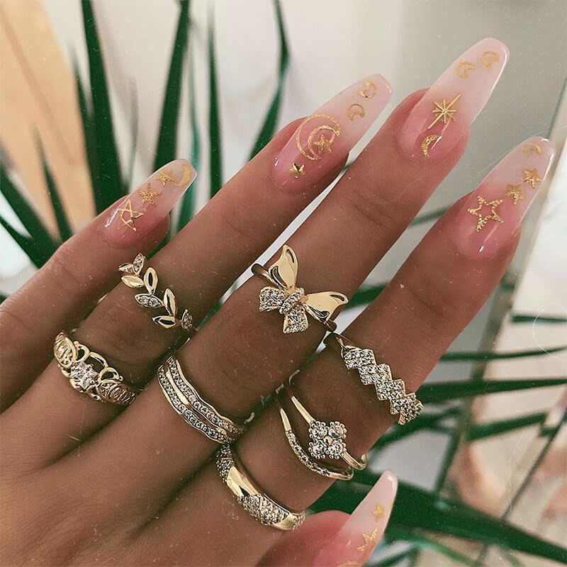 Lovely Trendy 7-piece Gold Metal Ring