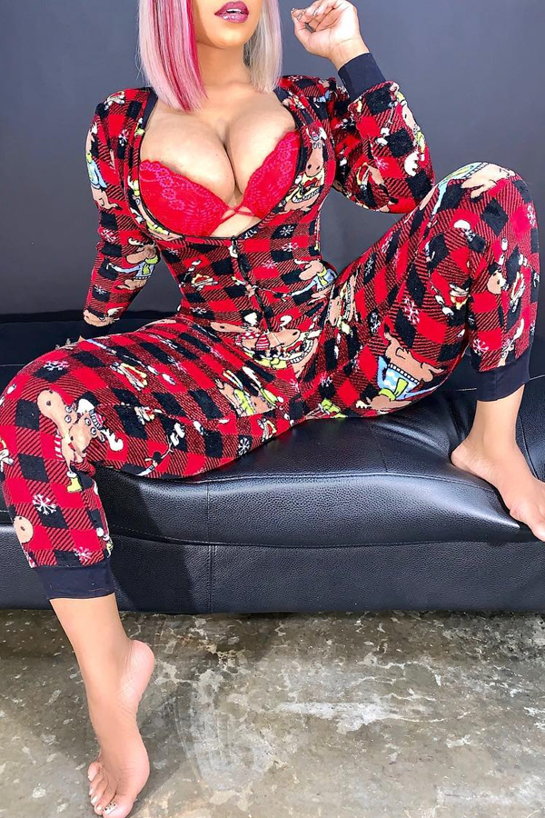 Lovely Christmas Day Plaid Printed Black And Red O