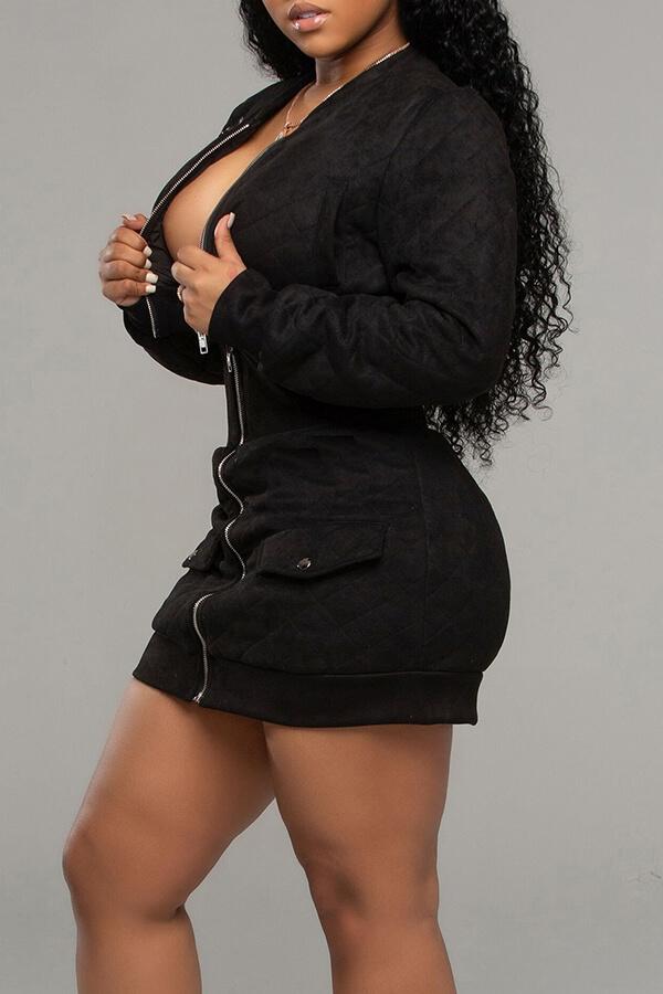 Lovely Casual Zipper Design Black Two-piece Skirt