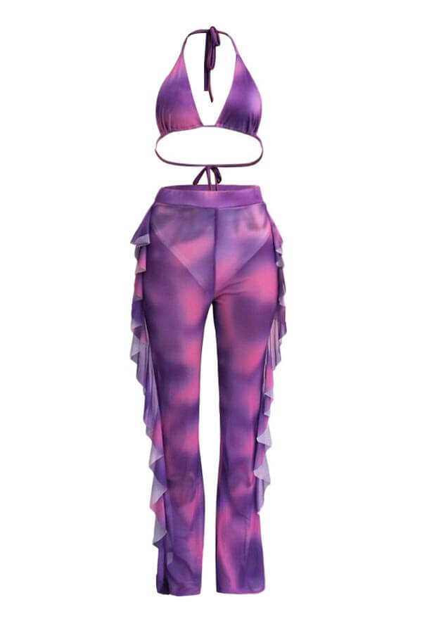Lovely Print Ruffle Design Purple Two-piece Swimsu