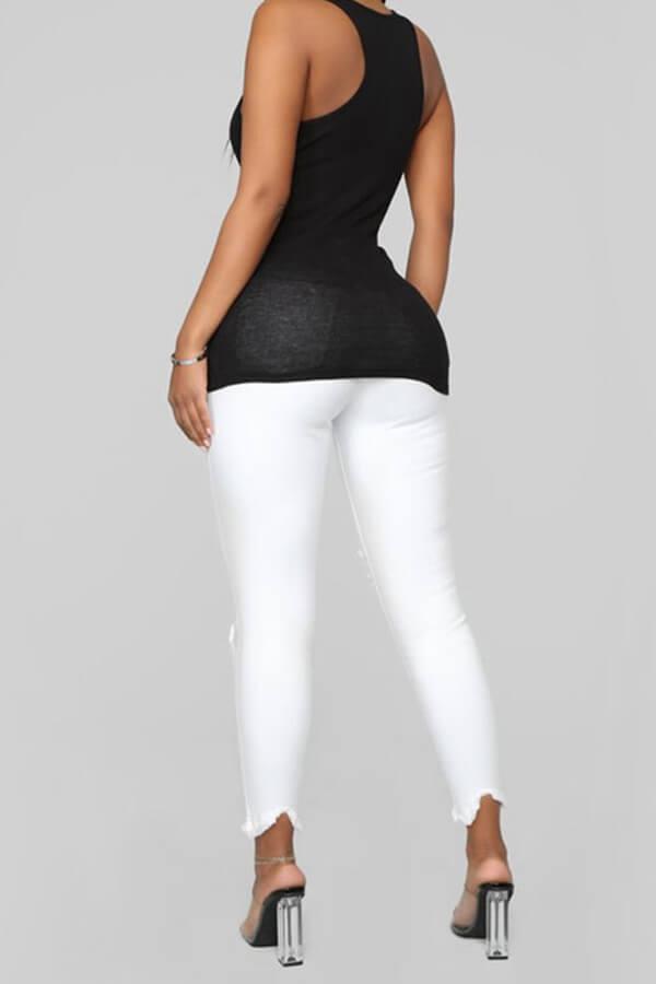 Lovely Casual Broken Holes White Jeans