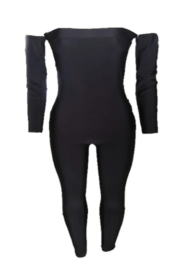 Lovely Stylish Dew Shoulder Black One-piece Jumpsu