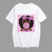 Lovely Plus Size Leisure Print Multicolor T-shirt