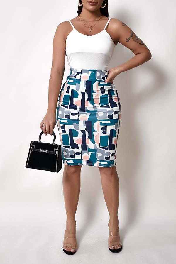 Lovely Trendy Print Multicolor Skirt