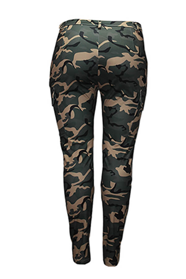 Lovely Casual Camo Print Army Green Plus Size Pant