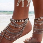 Lovely Casual Hollow-out Silver Body Chain