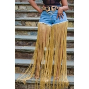 Lovely Stylish Tassel Design Blue Shorts