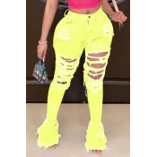 Lovely Trendy Hollow-out Yellow Jeans