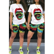 Lovely Leisure Lip Print Green Two-piece Shorts Set