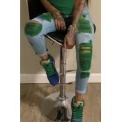 Lovely Stylish Broken Holes Green Jeans