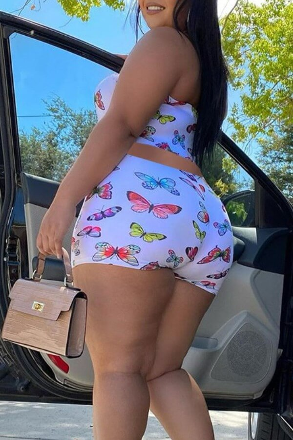 Lovely Stylish Butterfly Print White Two Piece Sho