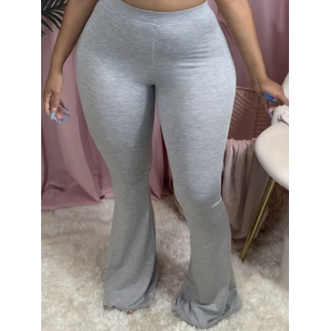 Lovely Casual Basic Skinny Grey Plus Size Pants