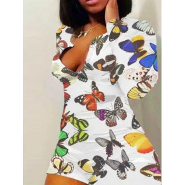 lovely Stylish Butterfly Print White One-piece Rom