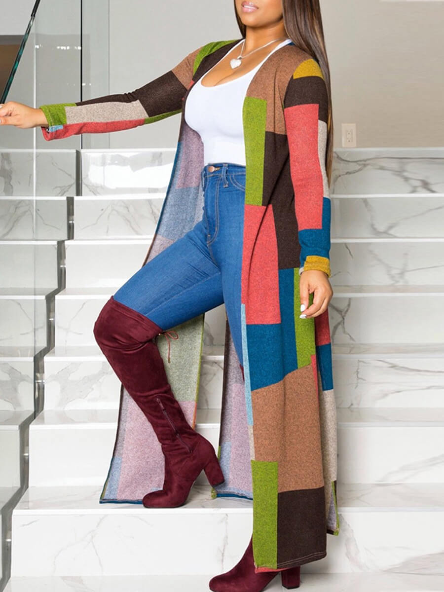 Lovely Casual Color-lump Patchwork Multicolor Tren