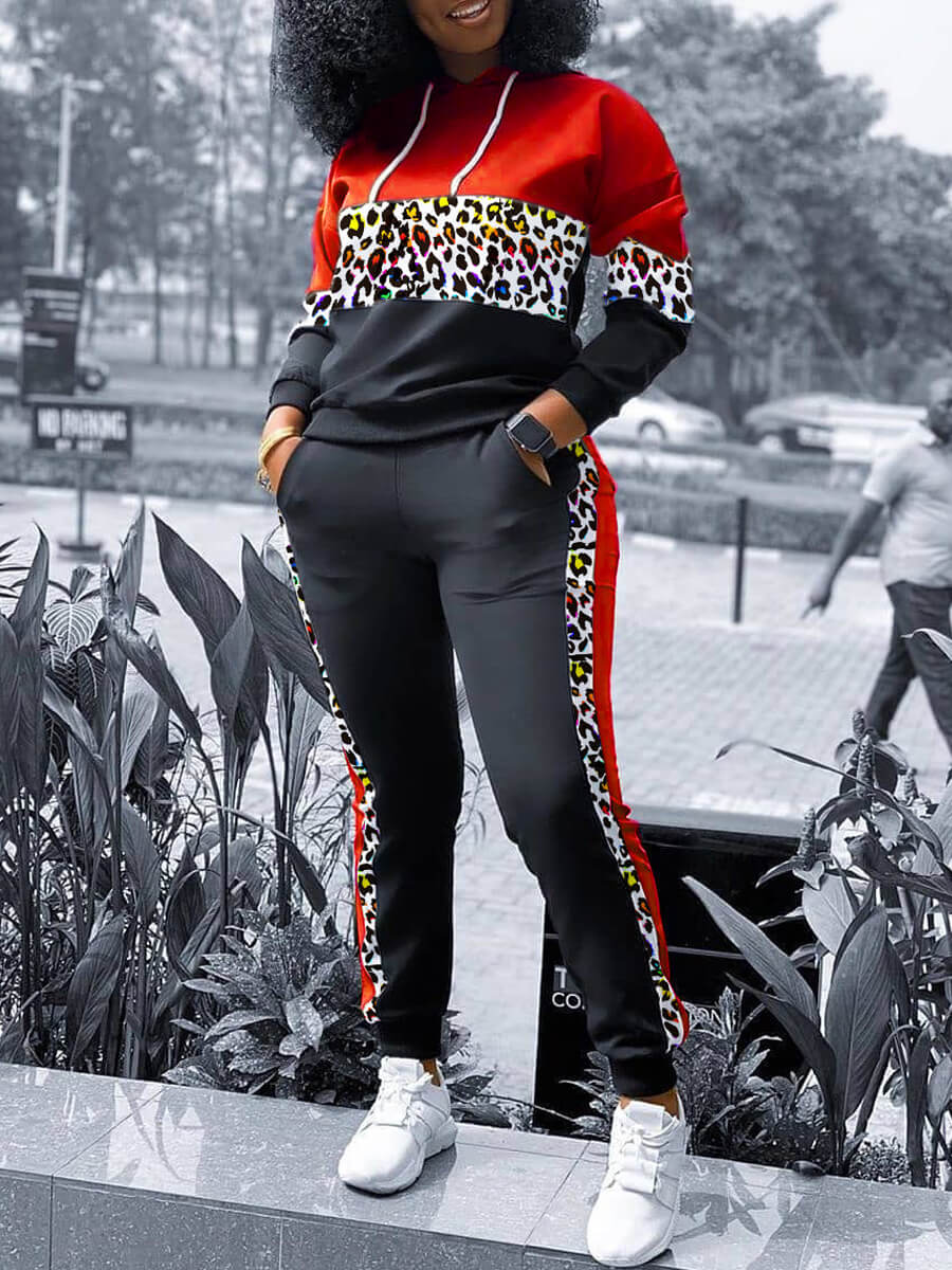 Lovely Plus Size Casual Print Patchwork Red Two-pi