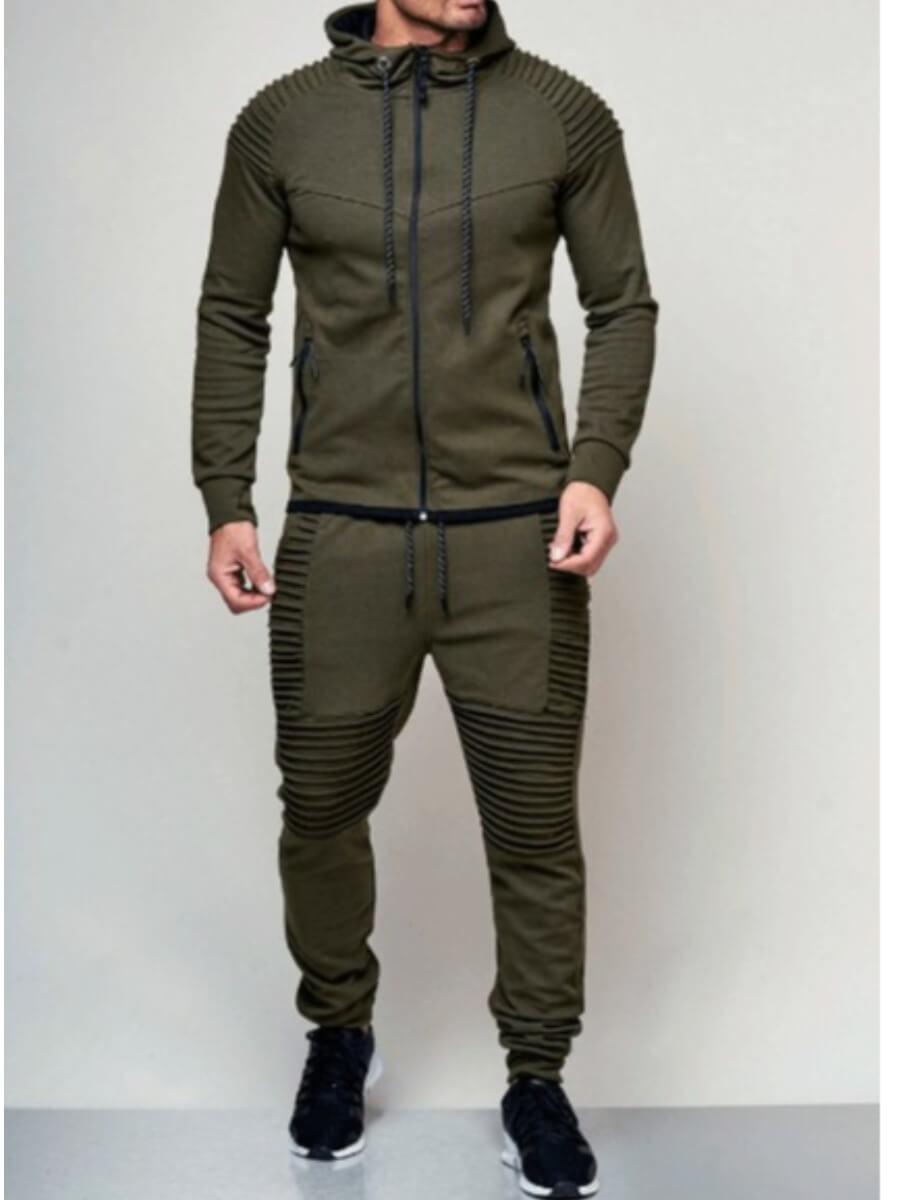 Lovely Men Sportswear Hooded Collar Patchwork Army