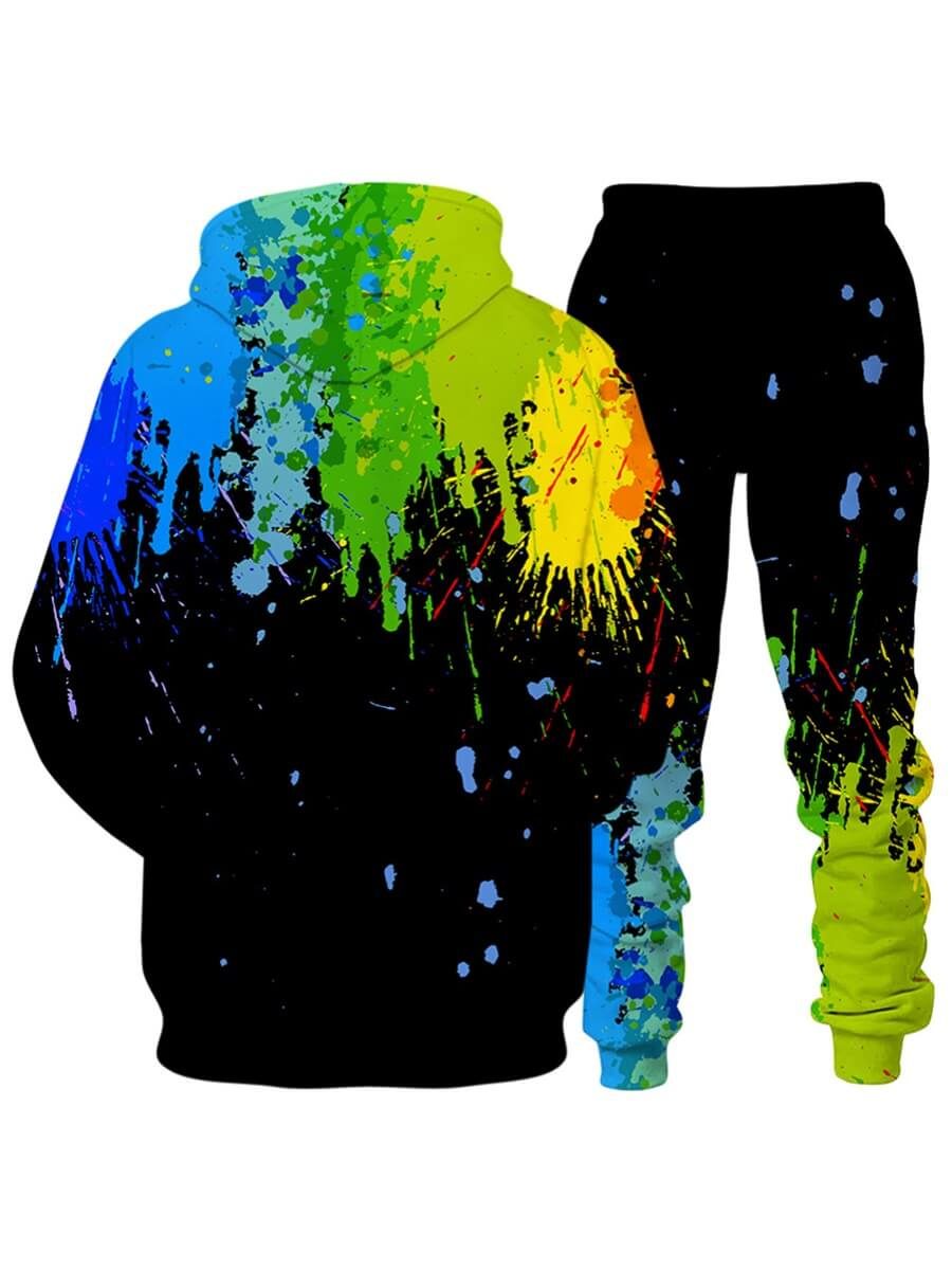 Lovely Men Casual Hooded Collar Graffiti Print Bla