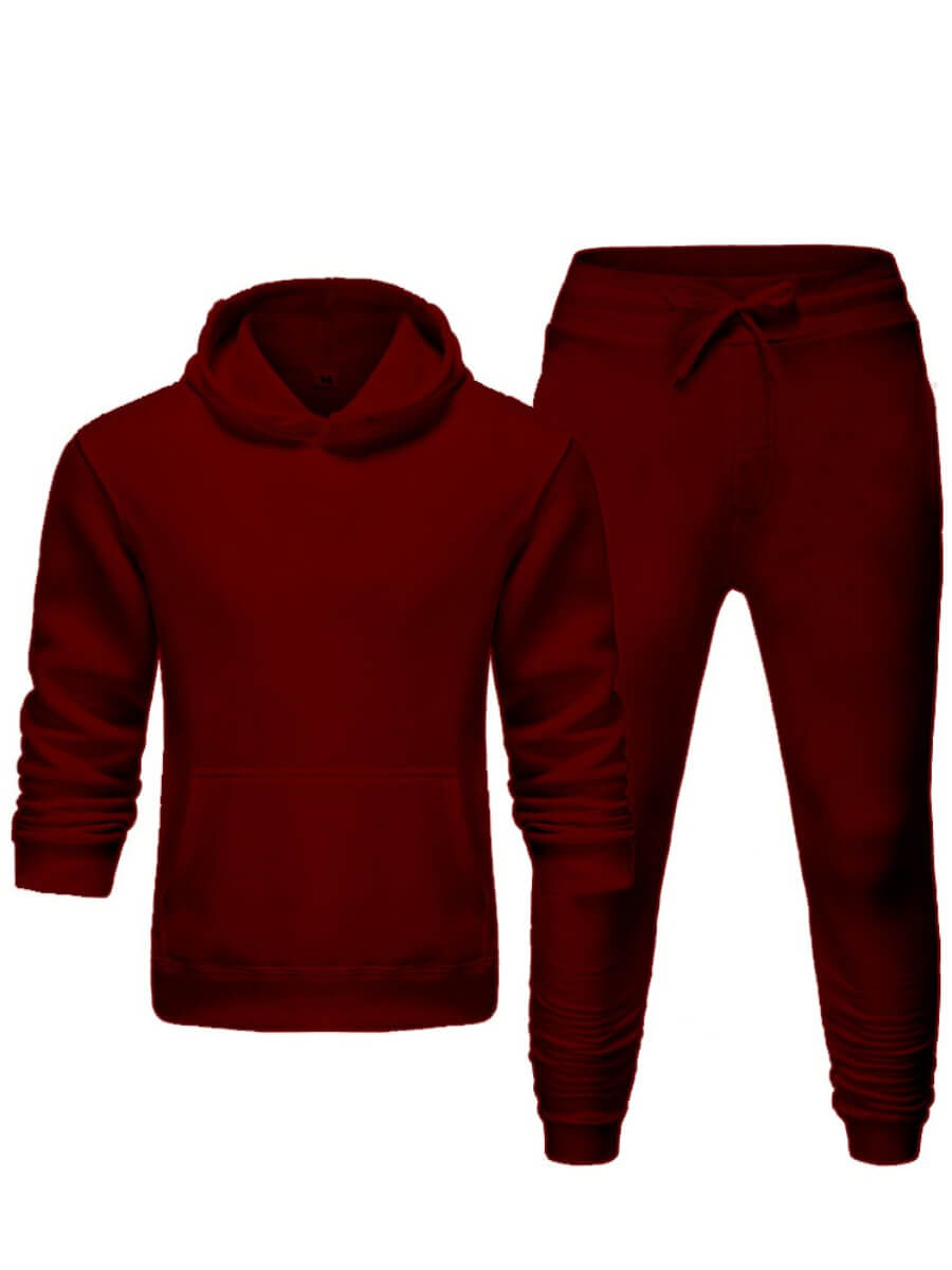 Lovely Men Casual Hooded Collar Basic Wine Red Two