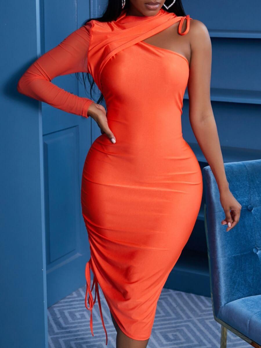 Lovely Sexy One Shoulder Fold Design Orange Knee L