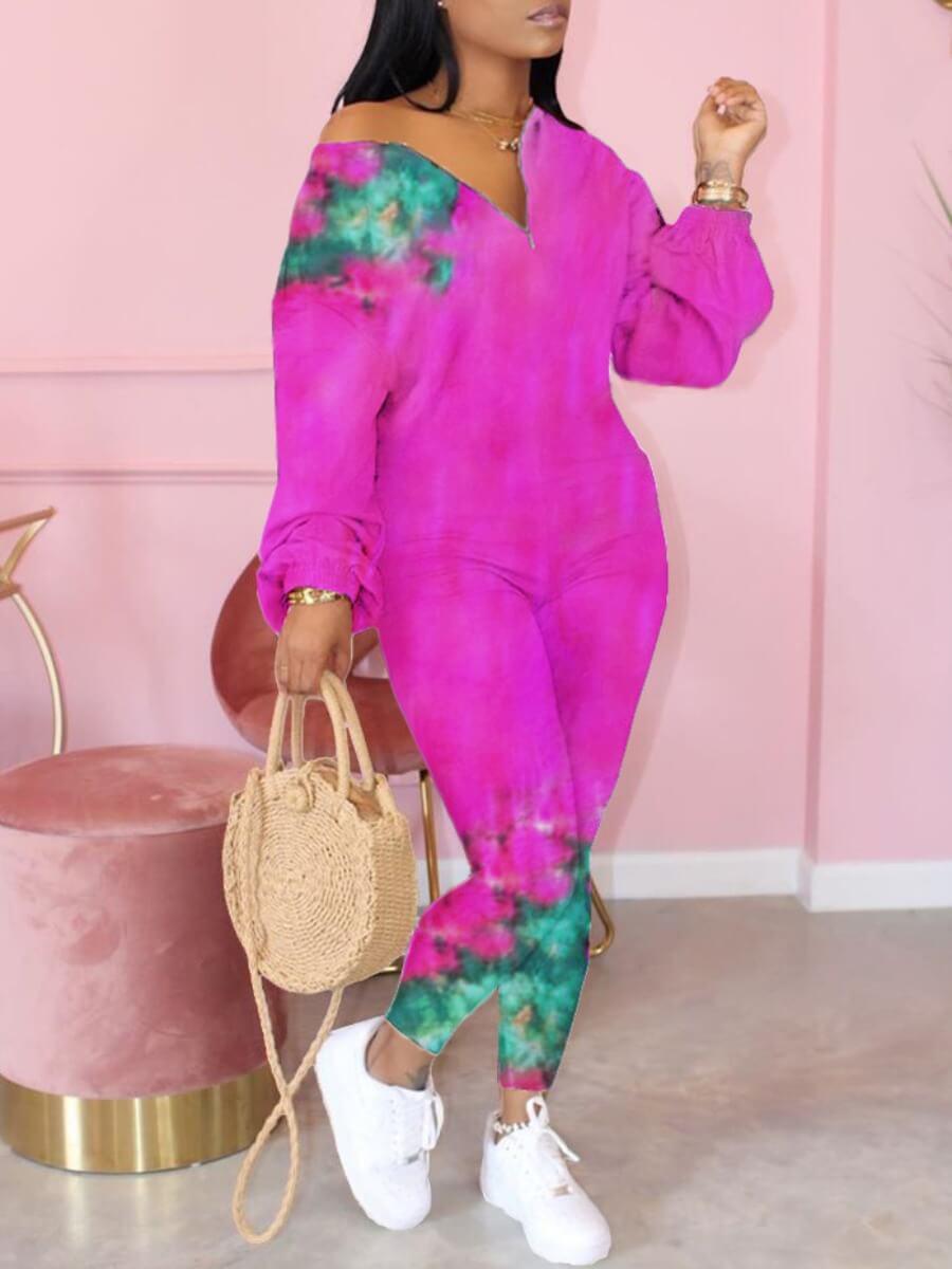 Lovely Trendy Tie-dye Skinny Purple One-piece Jump