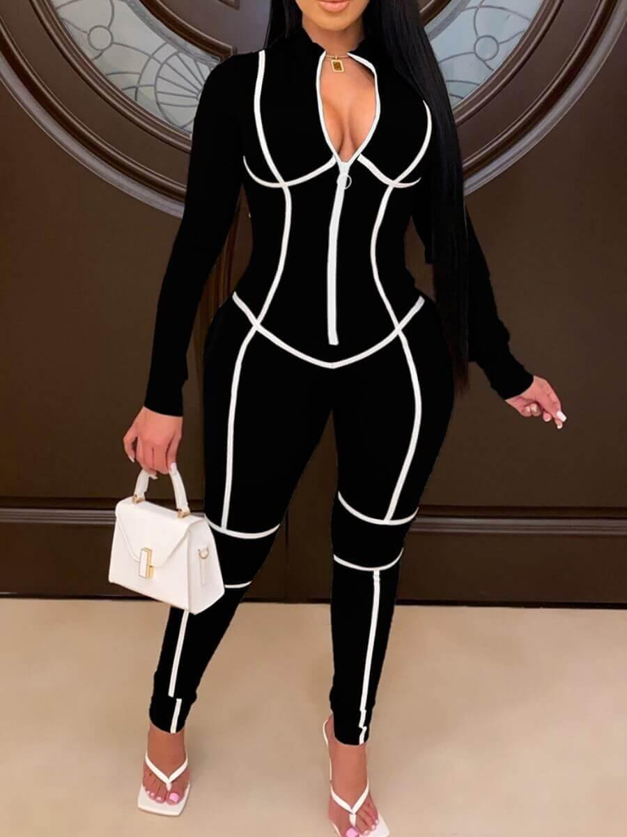 Lovely Sportswear Patchwork Zipper Design Black Pl