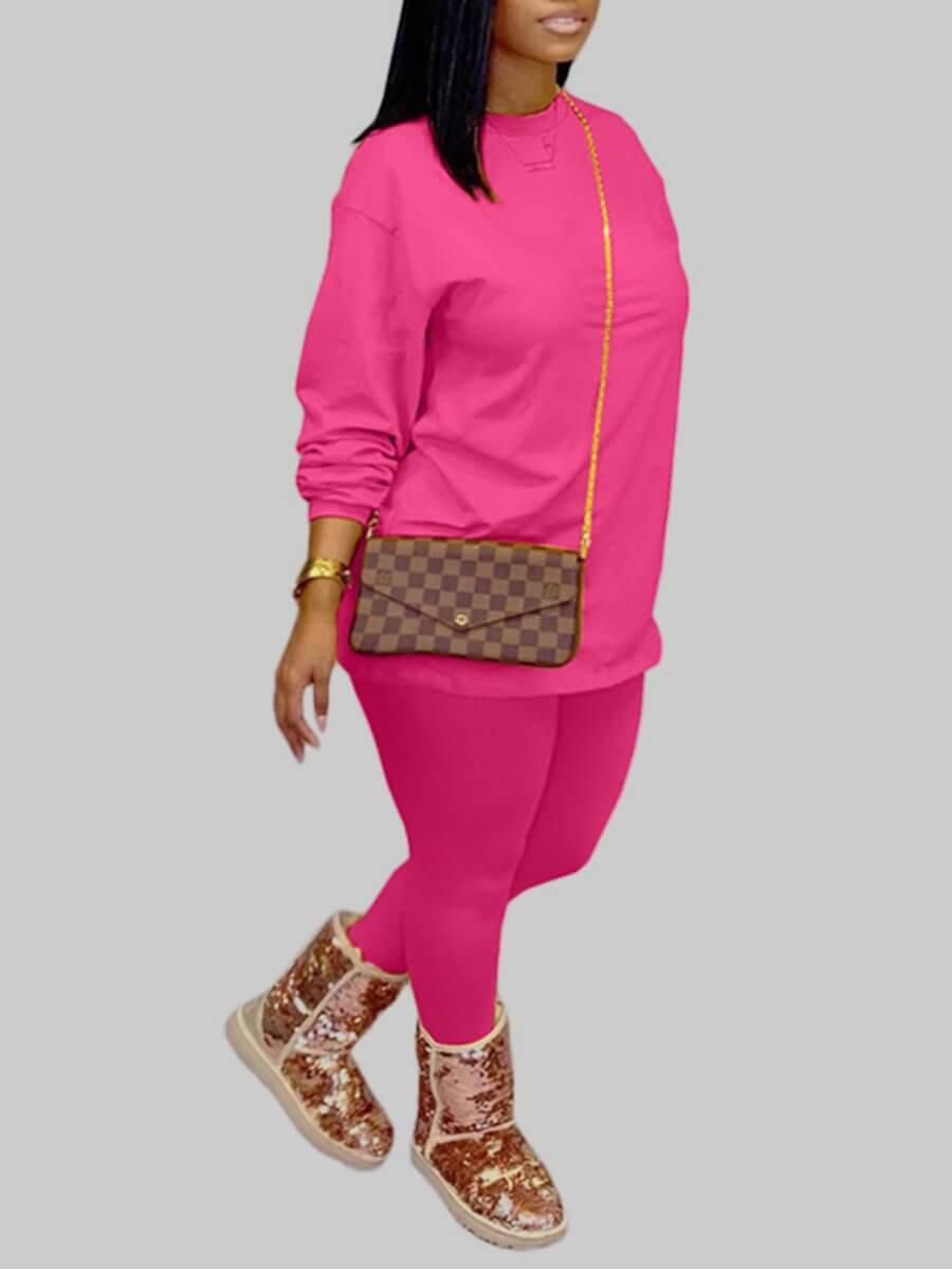 Lovely Casual O Neck Basic Rose Red Plus Size Two-