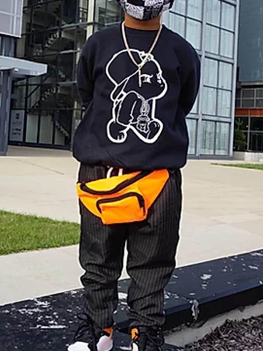 Lovely Casual O Neck Print Black Boy Hoodie