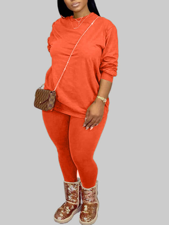 Lovely Casual O Neck Basic Croci Plus Size Two-pie
