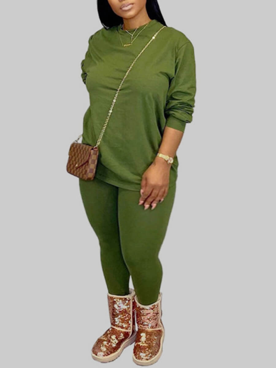 Lovely Casual O Neck Basic Skinny Green Plus Size