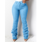 Lovely Casual Fold Design Baby Blue Plus Size Jean