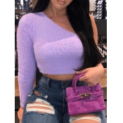 Lovely Trendy One Shoulder Skinny Purple Sweater