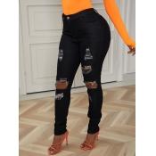Lovely Street Broken Holes Black Jeans