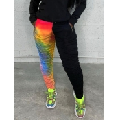 Lovely Casual Fold Design Tie-dye Red Pants
