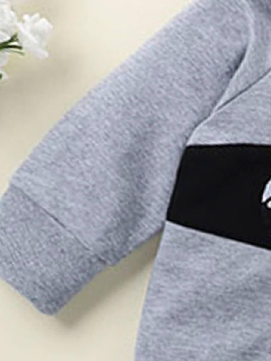 Lovely Sportswear Hooded Collar Print Grey Boy Two