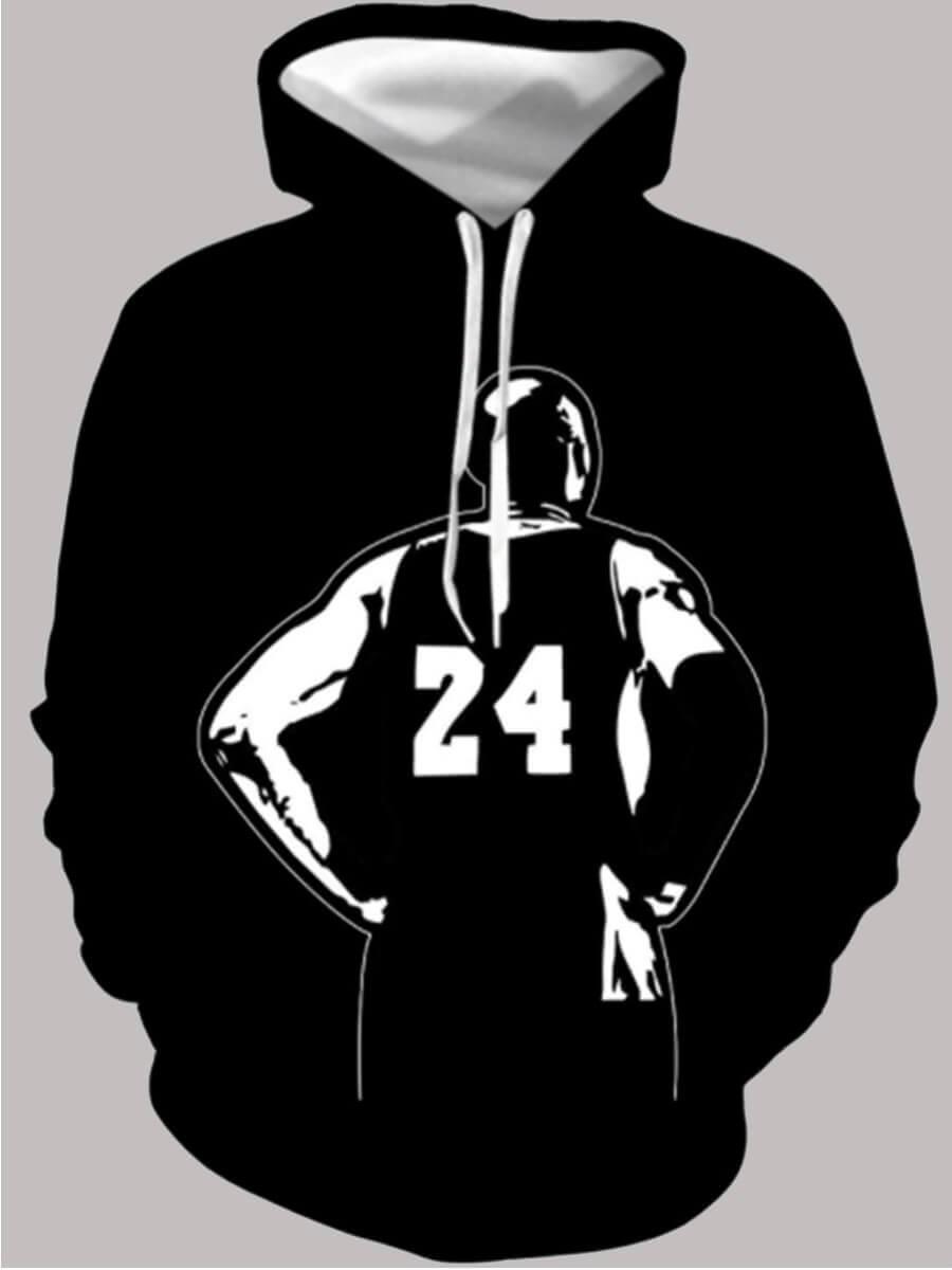 Lovely Boy Street Hooded Collar Print Black Hoodie