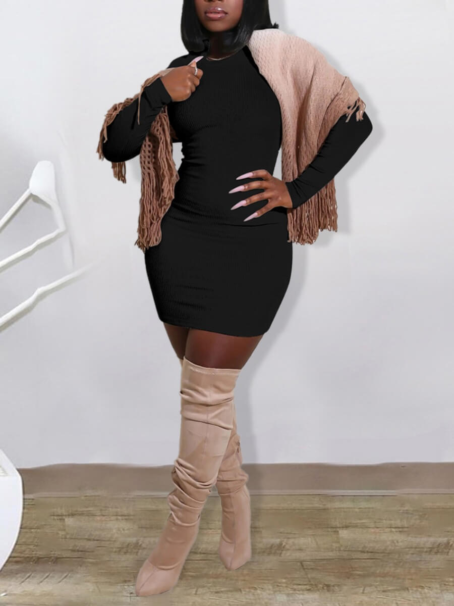 LW Round Neck Bodycon Dress