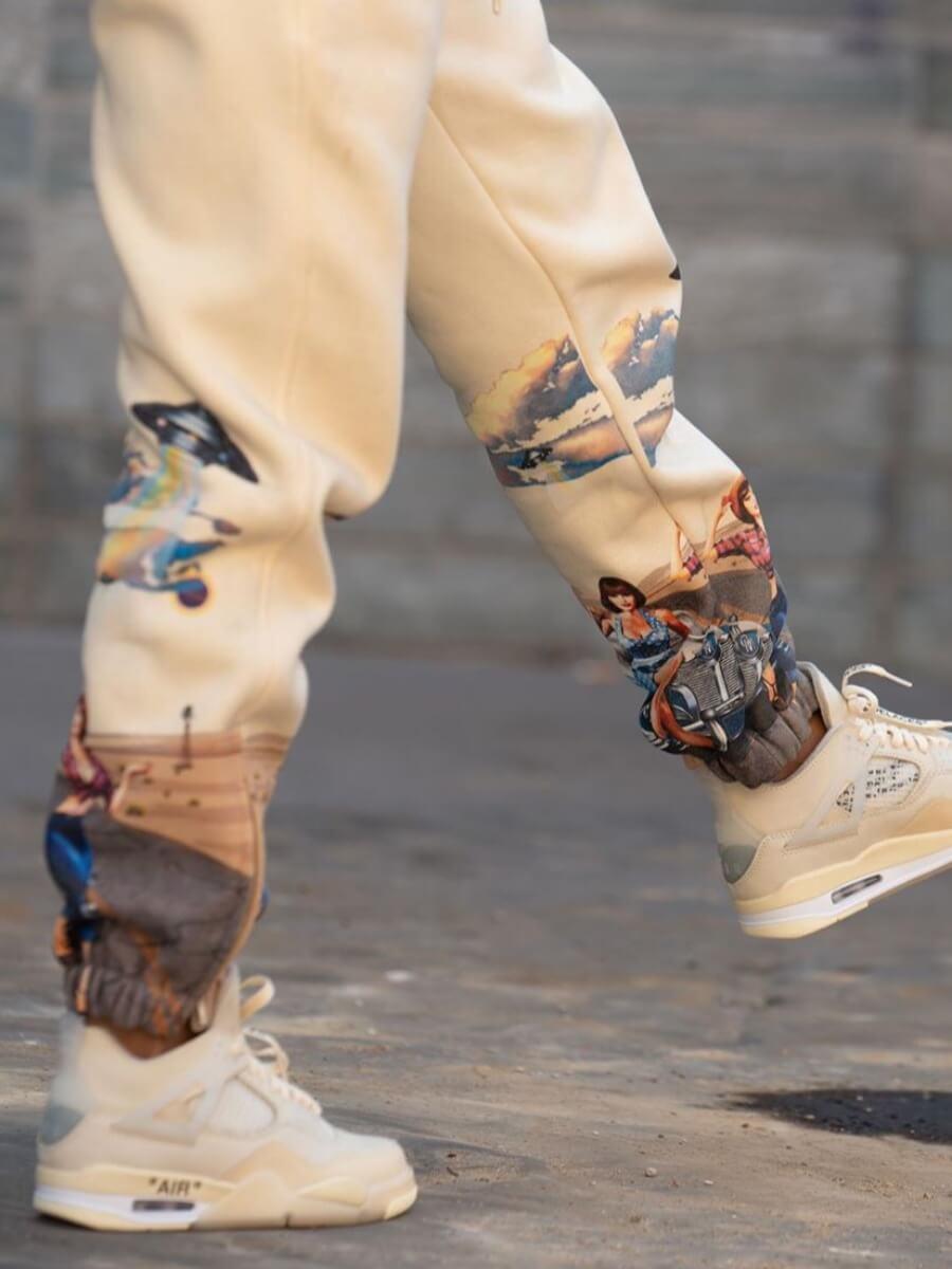 Lovely Street Print Khaki Pants