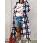 Lovely Trendy Turndown Collar Grid Print White Lon
