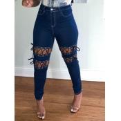 Lovely Street Bandage Design Baby Blue Jeans