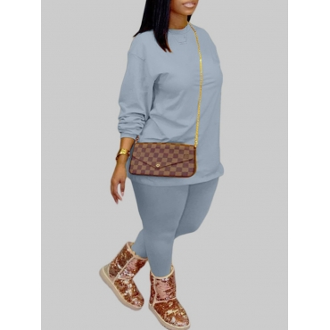 Lovely Casual O Neck Basic Baby Blue Plus Size Two