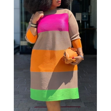 Lovely Trendy O Neck Rainbow Striped Multicolor Kn