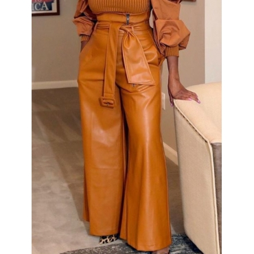 Lovely Stylish High-waisted Brown Pants