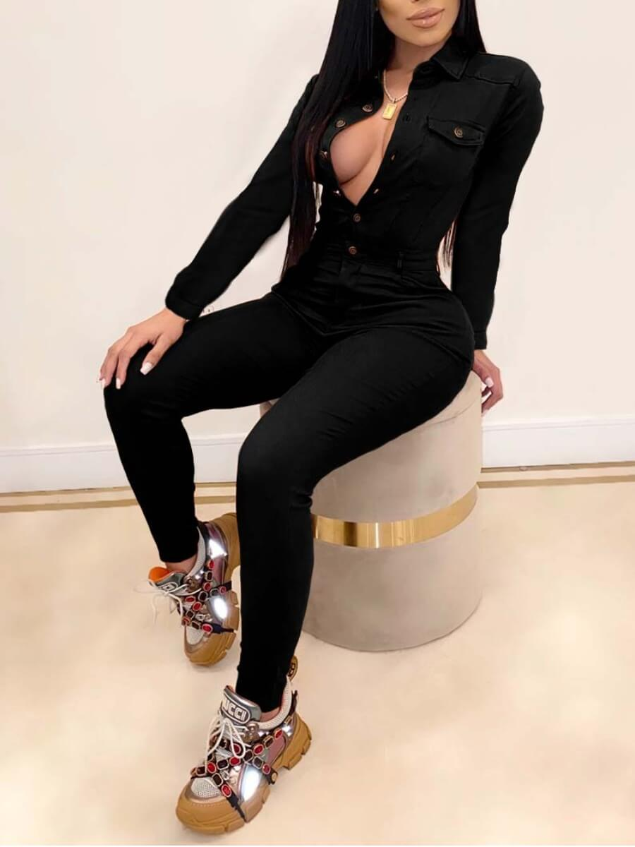 Lovely Stylish Turndown Collar Button Design Black